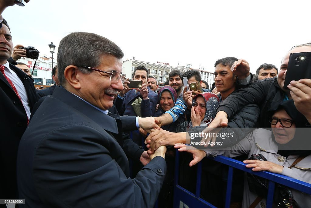 Turkish Prime Minister Ahmet Davutoglu meets his supporters as he decided not to stand in fresh leadership election in the extraordinary congress on May 22, in his hometown Konya, Turkey on May 6, 2016.