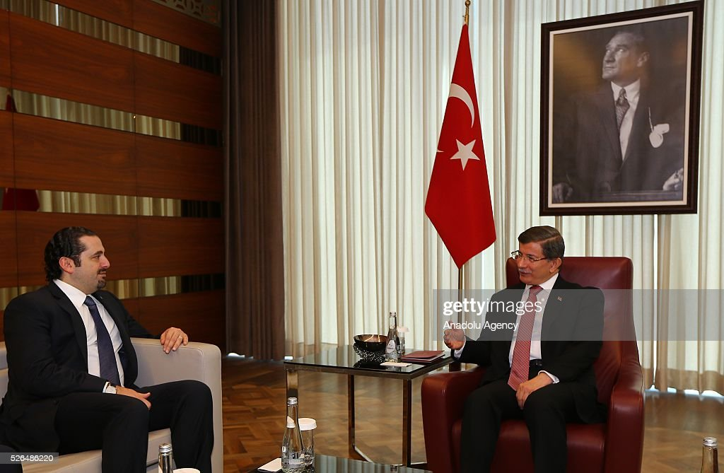 Turkish Prime Minister Ahmet Davutoglu (R) meets the Al-Mustaqbal movement leader and the former Prime Minister of Lebanon Saad Hariri (L) in Istanbul, Turkey on April 30, 2016.