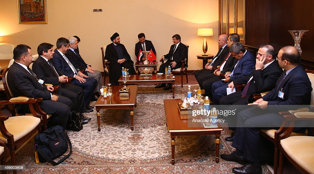 Turkish Prime Minister Ahmet Davutoglu meets the leader of Islamic Supreme Council of Iraq Ammar alHakim during his two days official visit in...