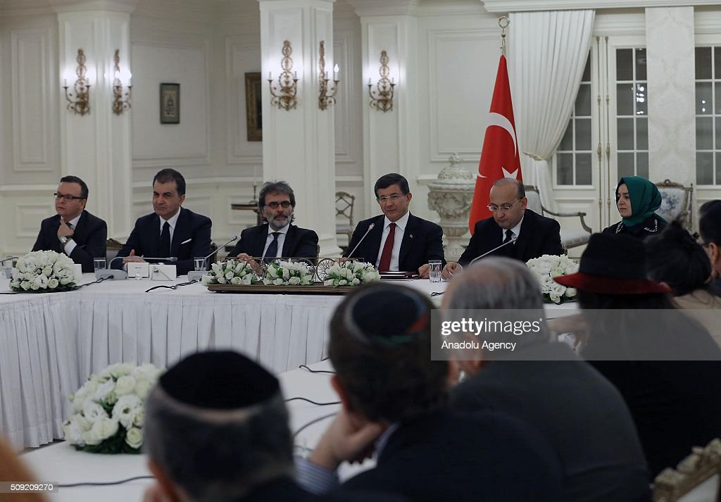 Turkish Prime Minister Ahmet Davutoglu meets with the members of Conference of Presidents, an American non-profit organization that addresses issues of critical concern to the Jewish community, in Ankara, Turkey on February 9, 2016.