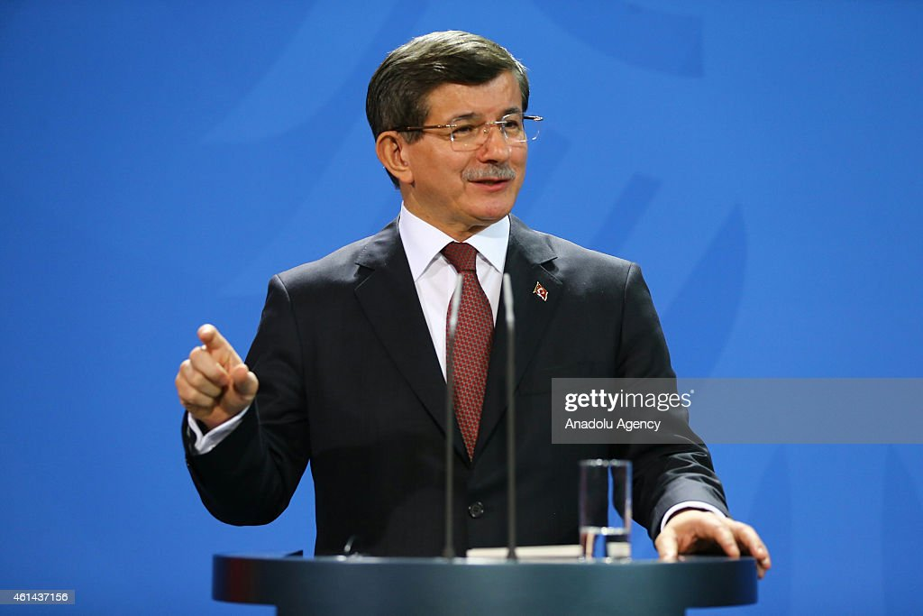 Turkish Prime Minister <a gi-track='captionPersonalityLinkClicked' href=/galleries/search?phrase=Ahmet+Davutoglu&family=editorial&specificpeople=4940018 ng-click='$event.stopPropagation()'>Ahmet Davutoglu</a> speaks during a press conference after a meeting with German Chancellor Angele Merkel in Berlin, Germany on January 12, 2015.