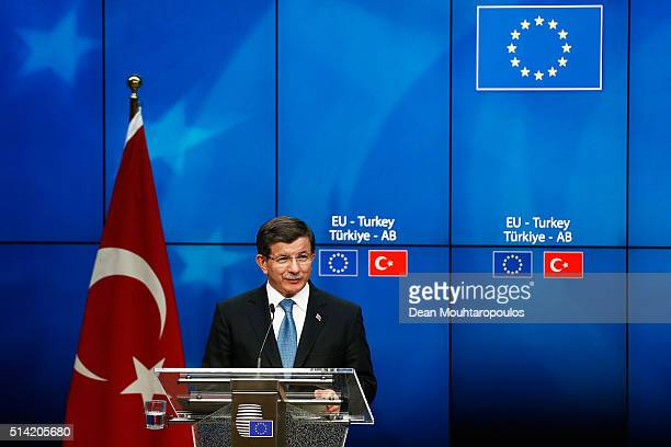 Turkish Prime Minister Ahmet Davutoglu speaks during the press conference after The European Council Meeting In Brussels held at the Justus Lipsius...