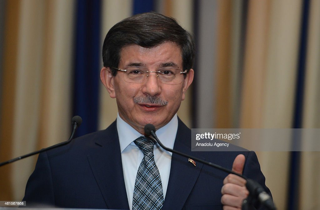 Turkish Prime Minister <a gi-track='captionPersonalityLinkClicked' href=/galleries/search?phrase=Ahmet+Davutoglu&family=editorial&specificpeople=4940018 ng-click='$event.stopPropagation()'>Ahmet Davutoglu</a> speaks during the summit organized by Friends of Europe and Permanent Representation of Turkey to the European Union, on January 15, 2015, in Brussels, Belgium.