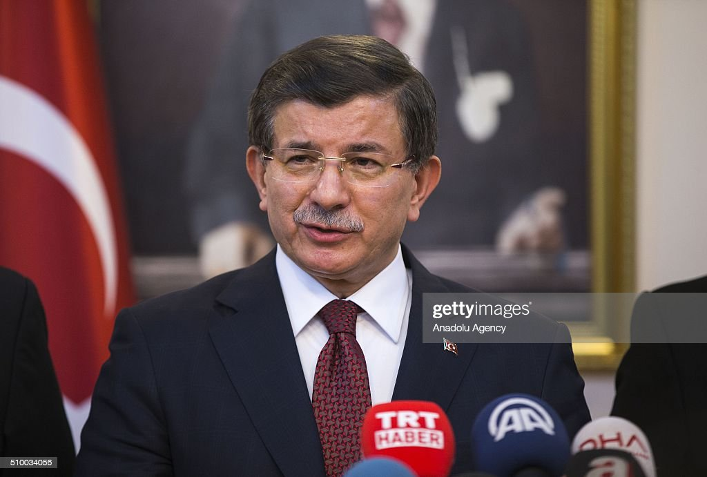 Turkish Prime Minister Ahmet Davutoglu speaks to the media at the Erzincan Airport in Erzincan, Turkey on February 13, 2016.