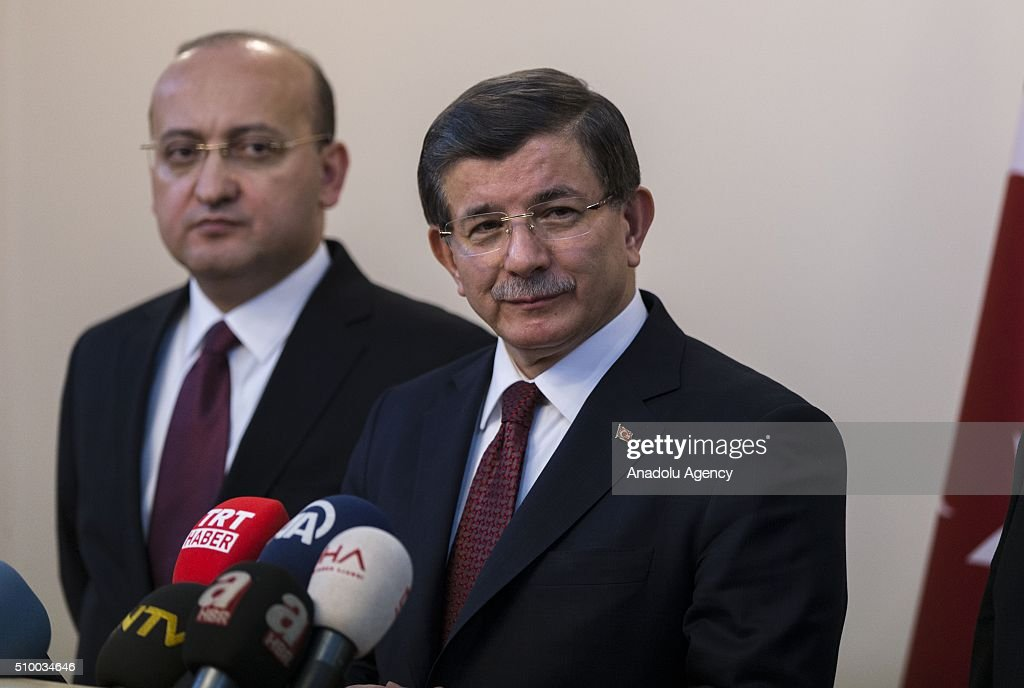 Turkish Prime Minister Ahmet Davutoglu speaks to the media at the Erzincan Airport in Erzincan, Turkey on February 13, 2016.