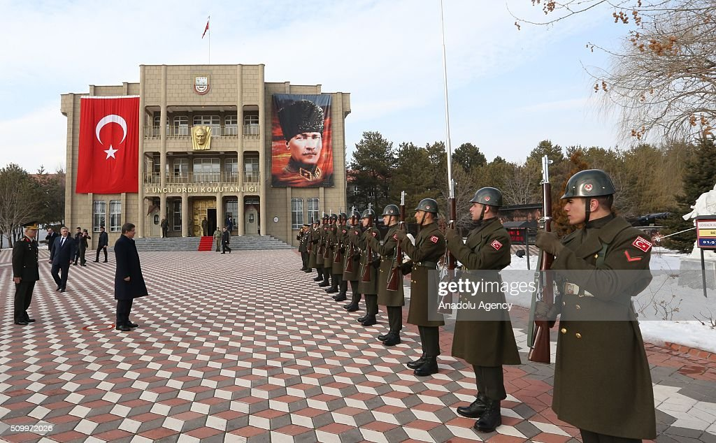 Turkish Prime Minister Ahmet Davutoglu (L 2) together with 3rd Army Commander General Ismail Serdar Savas (L) visits the 3rd Army Commandership in Erzincan, Turkey on February 13, 2016.