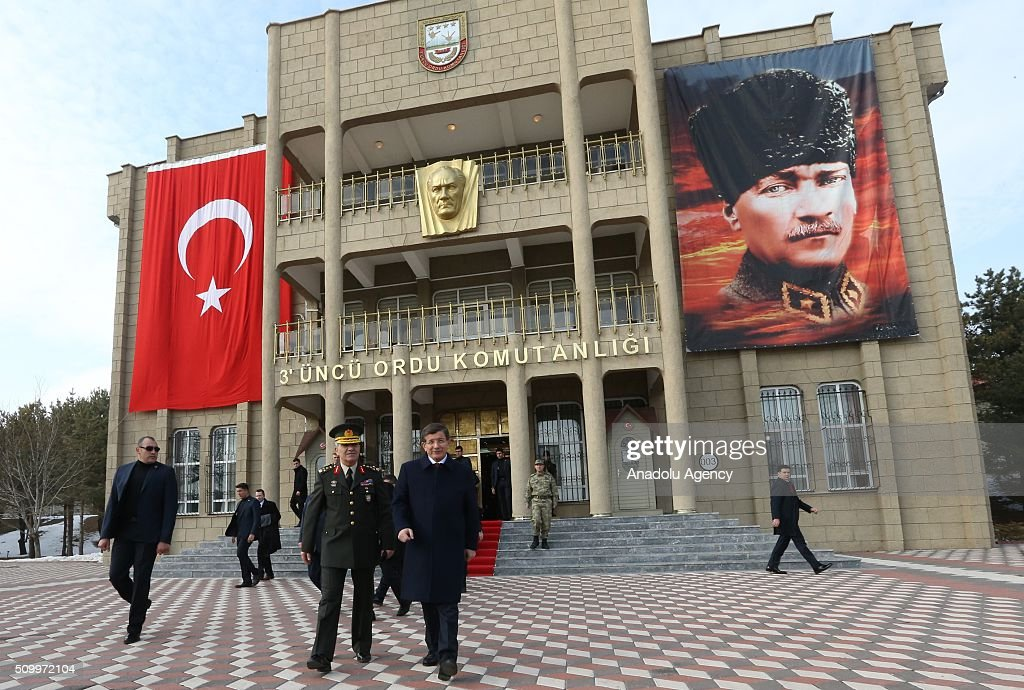 Turkish Prime Minister Ahmet Davutoglu (R) together with 3rd Army Commander General Ismail Serdar Savas (L) visits the 3rd Army Commandership in Erzincan, Turkey on February 13, 2016.