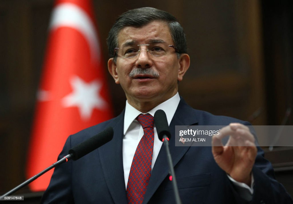 Turkish Prime Minister and leader of the Justice and Development Party (AK Party) Ahmet Davutoglu delivers a speech during the AK Party's group meeting at the Grand National Assembly of Turkey (TBMM) on February 9, 2016 in Ankara. / AFP / ADEM ALTAN