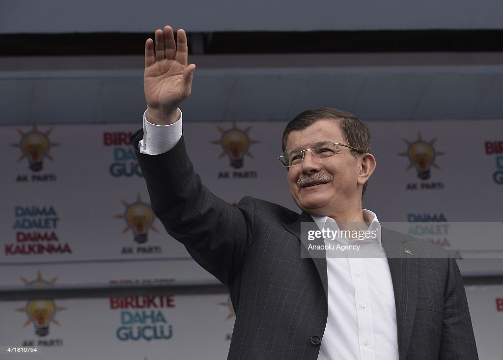 Turkish Prime Minister and leader of the ruling Justice and Development Party <a gi-track='captionPersonalityLinkClicked' href=/galleries/search?phrase=Ahmet+Davutoglu&family=editorial&specificpeople=4940018 ng-click='$event.stopPropagation()'>Ahmet Davutoglu</a> greets his supporters during an election rally in Kastamonu, Turkey on May 01, 2015.