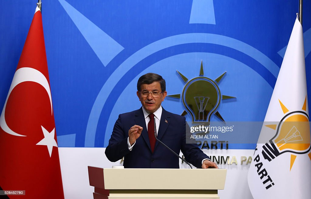 Turkish Prime Minister and leader of Turkey's ruling party, the Justice and Development Party (AK Party) Ahmet Davutoglu gives a press conference after an executive board meeting of his Justice and Development Party in Ankara, on May 5, 2016. Ahmet Davutoglu announced he would not be seeking a new mandate as ruling party chief at a extraordinary party congress on May 22, meaning he will step down as prime minister. / AFP / ADEM