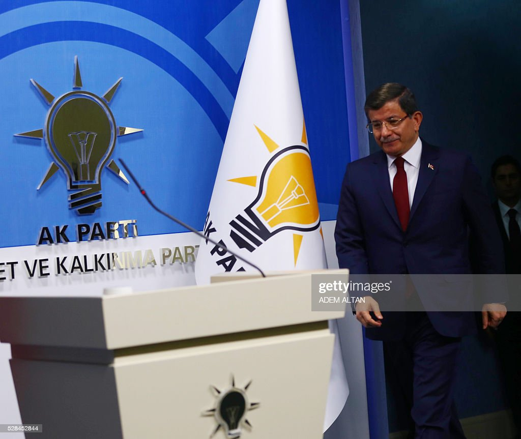 Turkish Prime Minister and leader of Turkey's ruling party, the Justice and Development Party (AK Party) Ahmet Davutoglu arrives to give a press conference after an executive board meeting of his Justice and Development Party in Ankara, on May 5, 2016. Ahmet Davutoglu announced he would not be seeking a new mandate as ruling party chief at a extraordinary party congress on May 22, meaning he will step down as prime minister. / AFP / ADEM