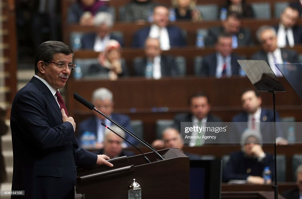 Turkish Prime Minister and the leader of the Justice and Development Party (AK Party) Ahmet Davutoglu delivers a speech during AK Party's group meeting at the Grand National Assembly of Turkey (TBMM) in Ankara, Turkey on February 9, 2016.