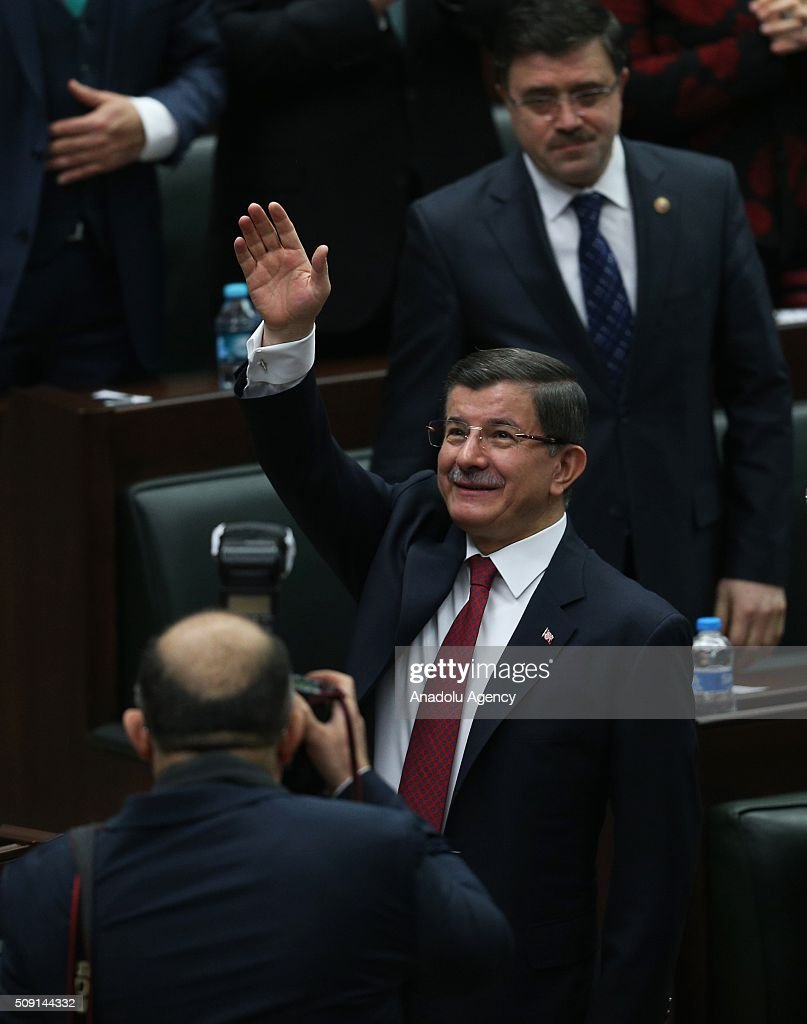 Turkish Prime Minister and the leader of the Justice and Development Party (AK Party) Ahmet Davutoglu attends AK Party's group meeting at the Grand National Assembly of Turkey (TBMM) in Ankara, Turkey on February 9, 2016.