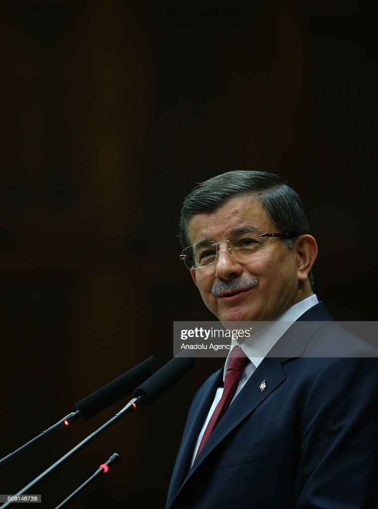 Turkish Prime Minister and the leader of the Justice and Development Party (AK Party) Ahmet Davutoglu delivers a speech during AK Party's group meeting at the Grand National Assembly of Turkey (TBMM) in Ankara, Turkey on February 09, 2016.