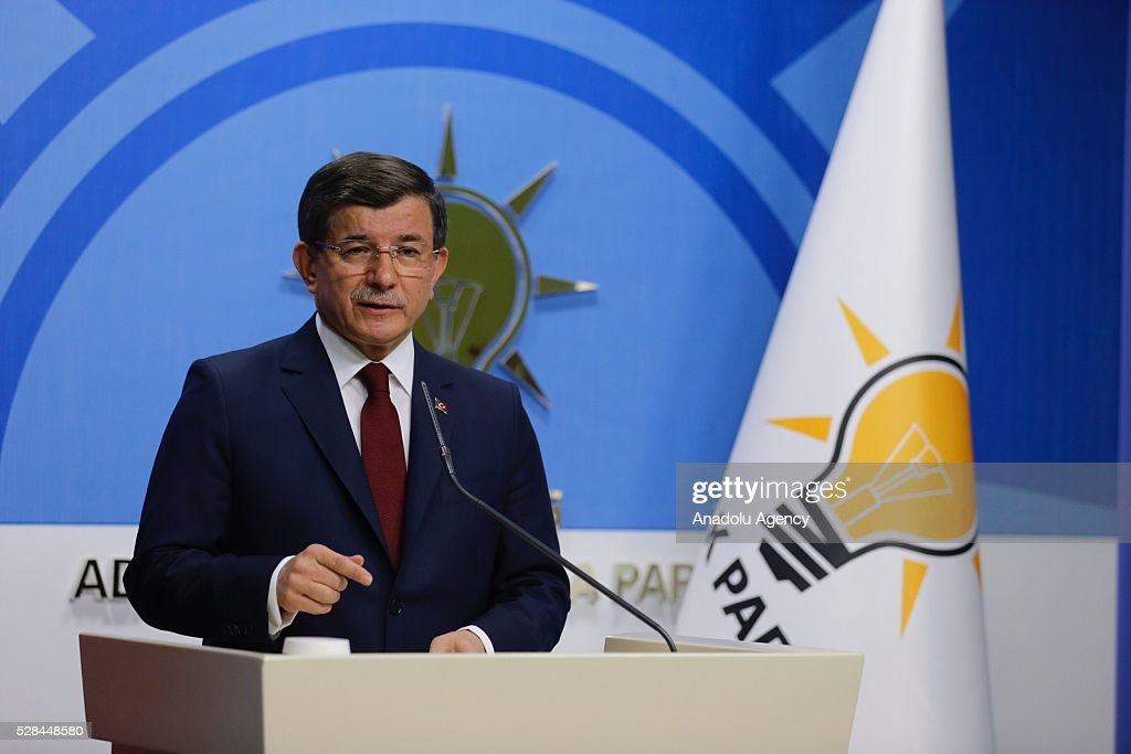 Turkish Prime Minister and the leader of Turkey's ruling party, the Justice and Development Party (AK Party) holds a press conference after an executive board meeting of his Justice and Development Party in Ankara, Turkey on May 5, 2016.