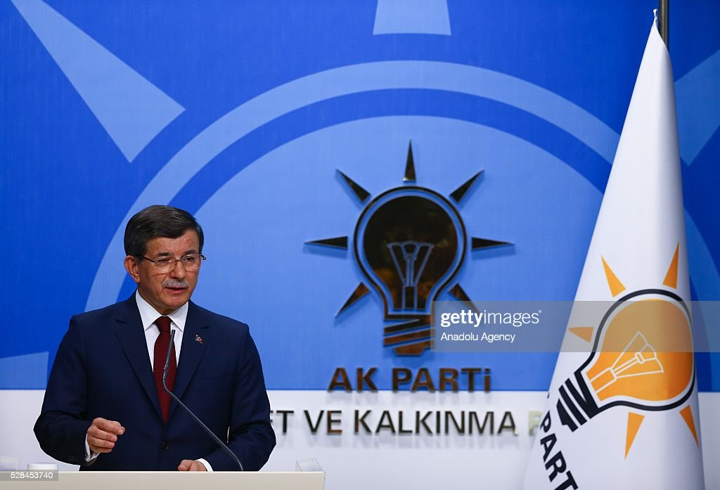 Turkish Prime Minister and the leader of Turkey's ruling party, the Justice and Development Party (AK Party), Ahmet Davutoglu holds a press conference after an executive board meeting of his Justice and Development Party in Ankara, Turkey on May 5, 2016.