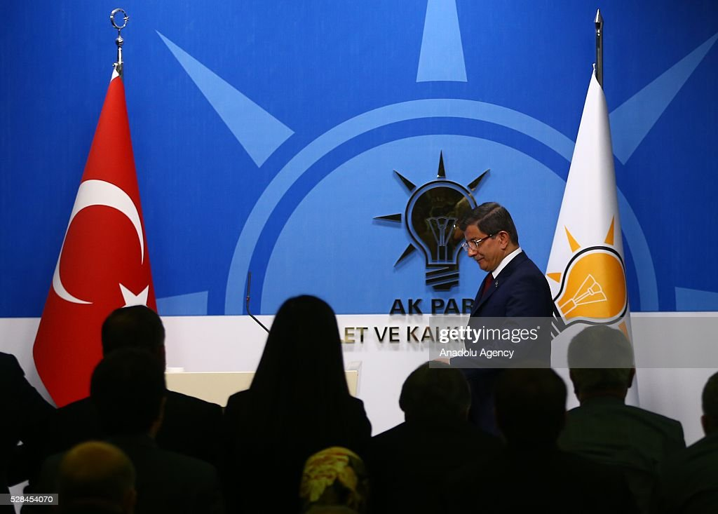 Turkish Prime Minister and the leader of Turkey's ruling party, the Justice and Development Party (AK Party), Ahmet Davutoglu arrives to attend a press conference after an executive board meeting of his Justice and Development Party in Ankara, Turkey on May 5, 2016.