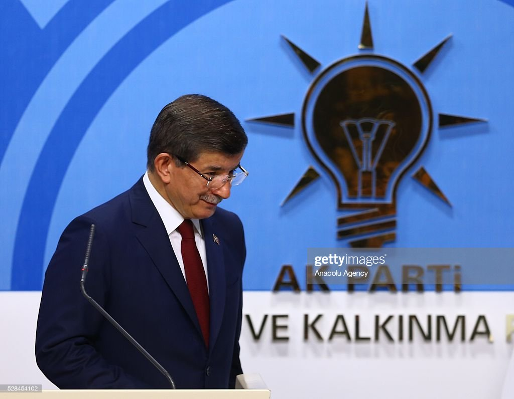 Turkish Prime Minister and the leader of Turkey's ruling party, the Justice and Development Party (AK Party), Ahmet Davutoglu leaves after attending a press conference following an executive board meeting of his Justice and Development Party in Ankara, Turkey on May 5, 2016.