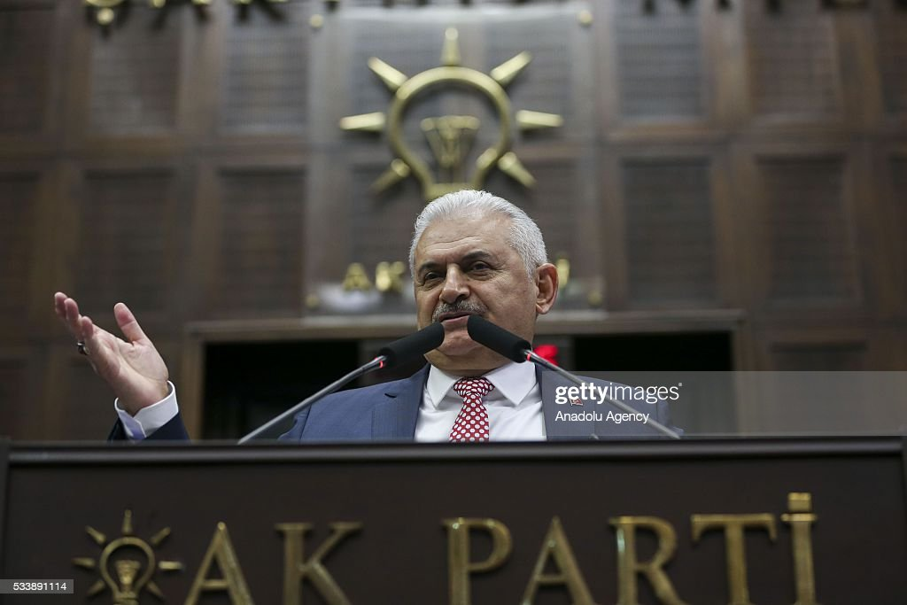 Turkish Prime Minister and the leader of Turkey's ruling party, the Justice and Development Party (AK Party) Binali Yildrim speaks during AK Party's group meeting at the Grand National Assembly of Turkey (TBMM) in Ankara, Turkey on May 24, 2016.