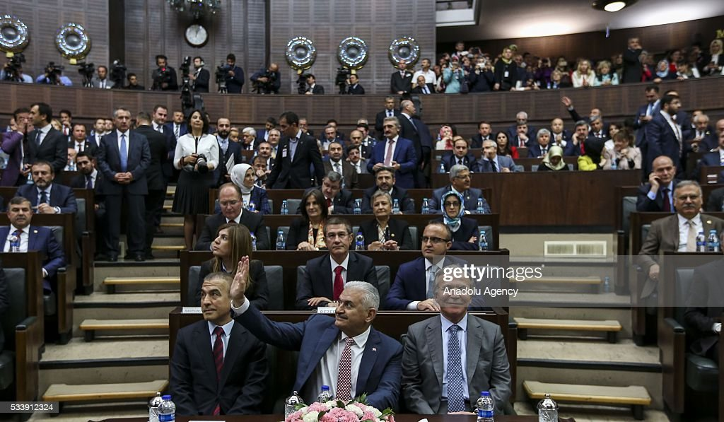 Turkish Prime Minister and the leader of Turkey's ruling party, the Justice and Development Party (AK Party) Binali Yildrim (C) gestures during AK Party's group meeting at the Grand National Assembly of Turkey (TBMM) in Ankara, Turkey on May 24, 2016.