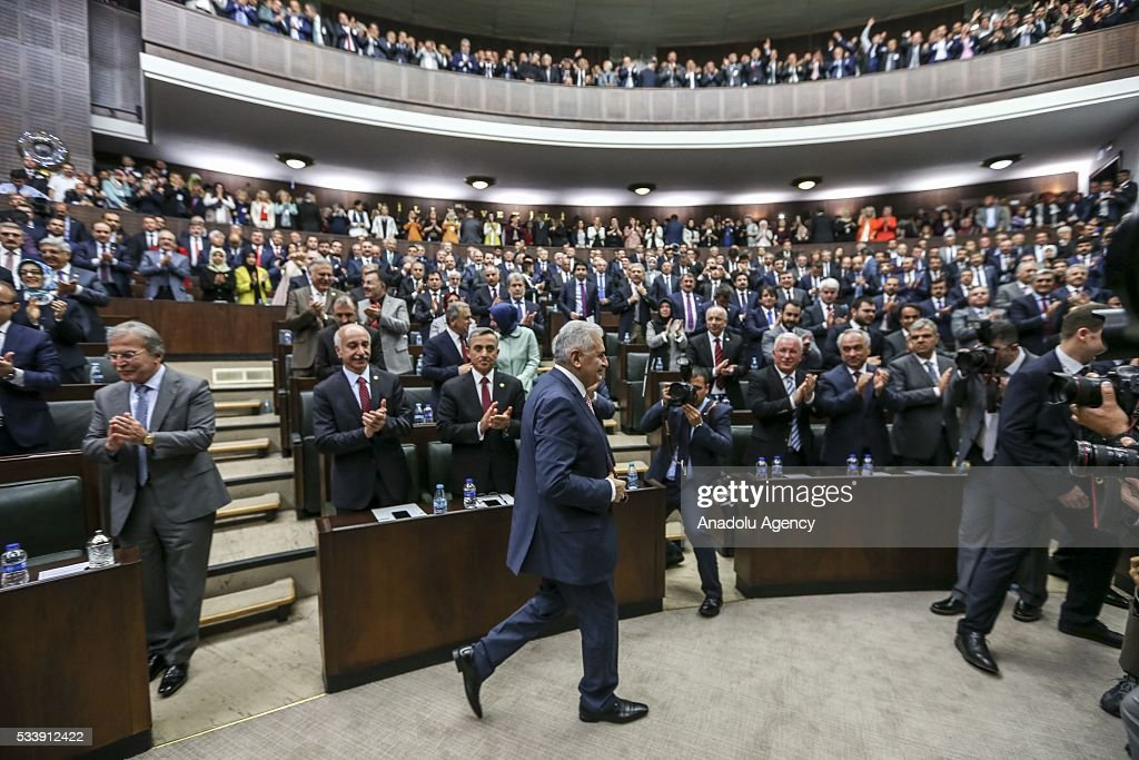Turkish Prime Minister and the leader of Turkey's ruling party, the Justice and Development Party (AK Party) Binali Yildrim (C) attends the AK Party's group meeting at the Grand National Assembly of Turkey (TBMM) in Ankara, Turkey on May 24, 2016.
