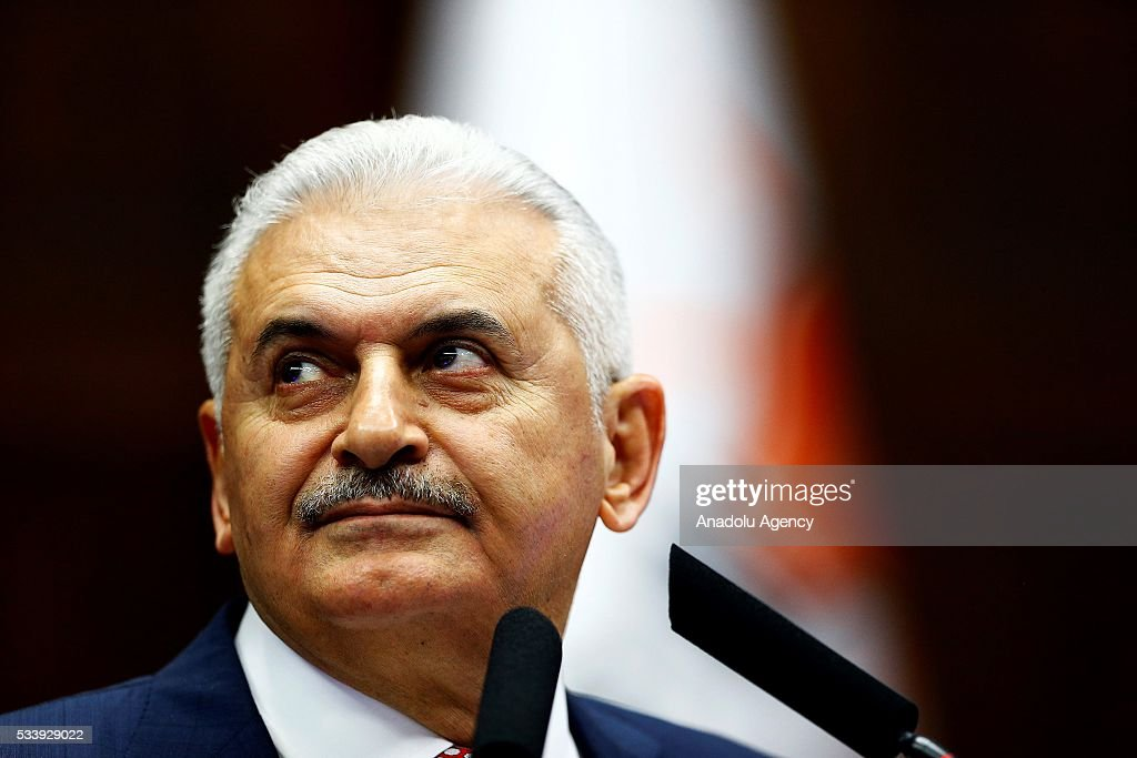 Turkish Prime Minister and the leader of Turkey's ruling party, the Justice and Development Party (AK Party) Binali Yildirim speaks during AK Party's group meeting at the Grand National Assembly of Turkey (TBMM) in Ankara, Turkey on May 24, 2016.
