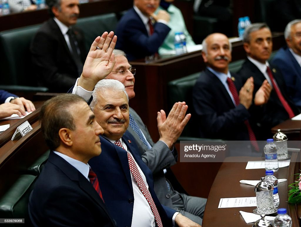 Turkish Prime Minister and the leader of Turkey's ruling party, the Justice and Development Party (AK Party) Binali Yildirim (C) attends AK Party's group meeting at the Grand National Assembly of Turkey (TBMM) in Ankara, Turkey on May 24, 2016.