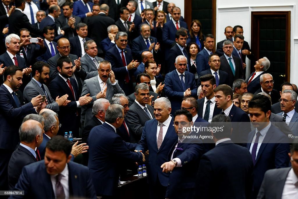 Turkish Prime Minister and the leader of Turkey's ruling party, the Justice and Development Party (AK Party) Binali Yildirim attends AK Party's group meeting at the Grand National Assembly of Turkey (TBMM) in Ankara, Turkey on May 24, 2016.