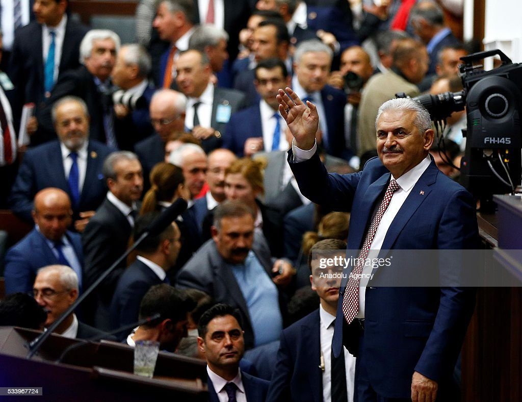 Turkish Prime Minister and the leader of Turkey's ruling party, the Justice and Development Party (AK Party) Binali Yildirim gestures during AK Party's group meeting at the Grand National Assembly of Turkey (TBMM) in Ankara, Turkey on May 24, 2016.