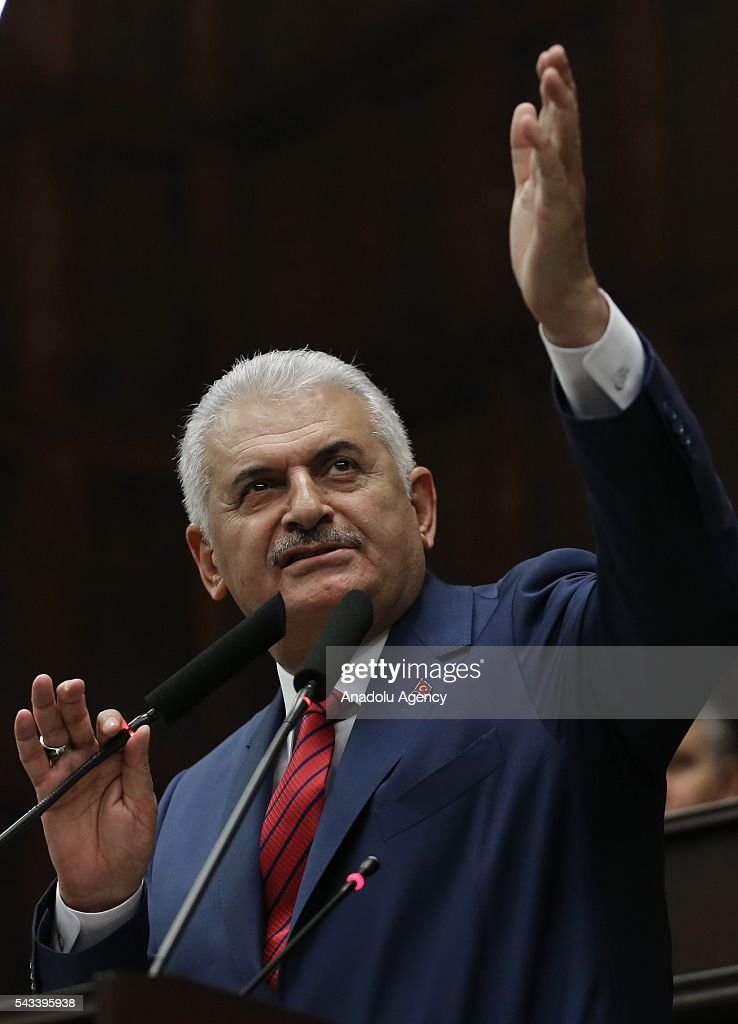 Turkish Prime Minister and the leader of Turkey's ruling party, the Justice and Development Party (AK Party) Binali Yildirim delivers a speech during AK Party's group meeting at the Grand National Assembly of Turkey (TBMM) in Ankara, Turkey on June 28, 2016.
