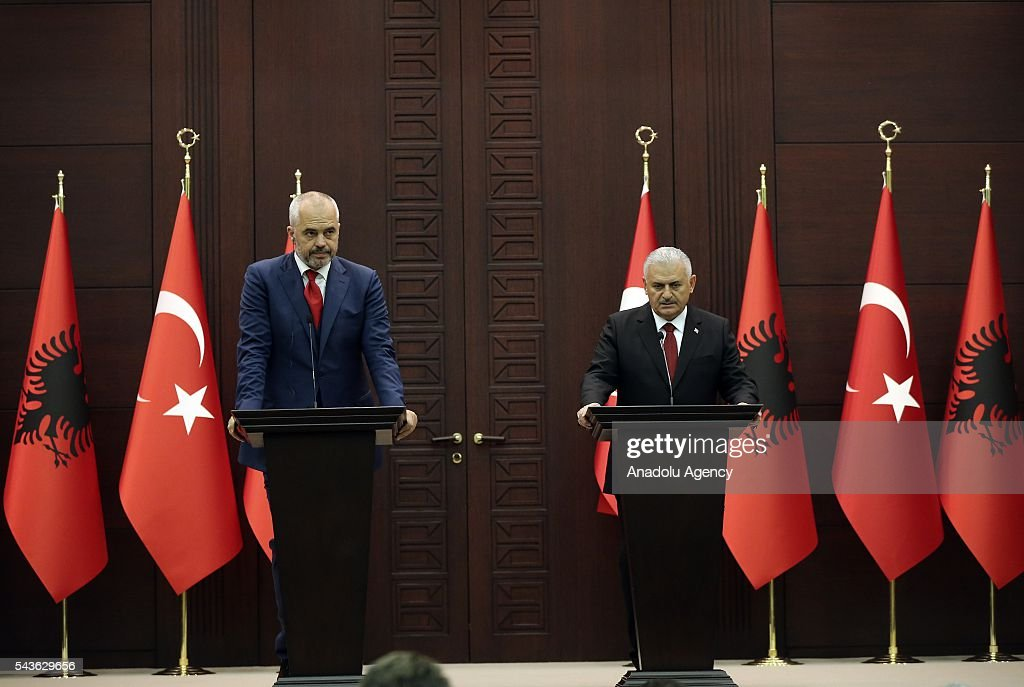 Turkish Prime Minister Binali Yildirim (R) and Albanian Prime Minister Edi Rama (L) hold a joint press conference following their meeting at Cankaya Palace in Ankara, Turkey on June 29, 2016.