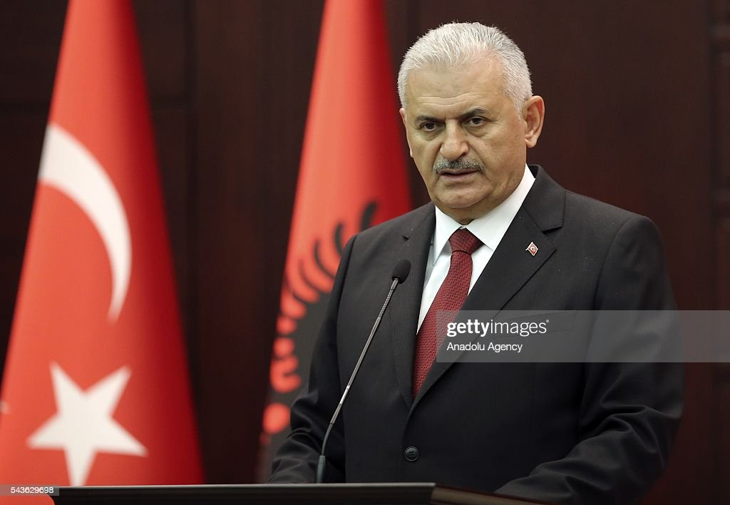 Turkish Prime Minister Binali Yildirim and Albanian Prime Minister Edi Rama (not seen) hold a joint press conference following their meeting at Cankaya Palace in Ankara, Turkey on June 29, 2016.