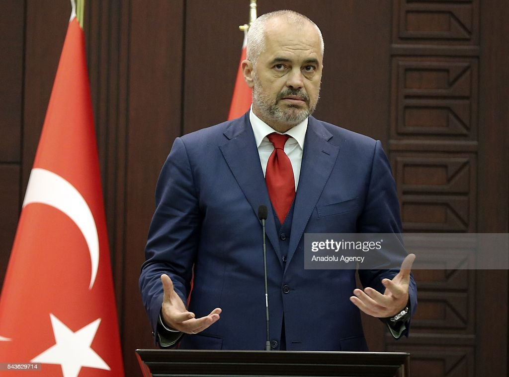 Turkish Prime Minister Binali Yildirim (not seen) and Albanian Prime Minister Edi Rama hold a joint press conference following their meeting at Cankaya Palace in Ankara, Turkey on June 29, 2016.