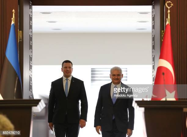 Turkish Prime Minister Binali Yildirim and Estonian Prime Minister Juri Ratas are seen together to hold a joint press conference after their meeting...