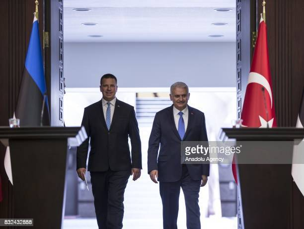 Turkish Prime Minister Binali Yildirim and Estonian Prime Minister Juri Ratas arrive to hold a joint press conference after their meeting at Cankaya...