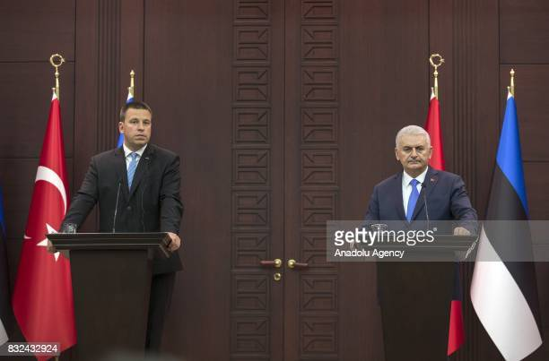 Turkish Prime Minister Binali Yildirim and Estonian Prime Minister Juri Ratas hold a joint press conference after their meeting at Cankaya Palace in...