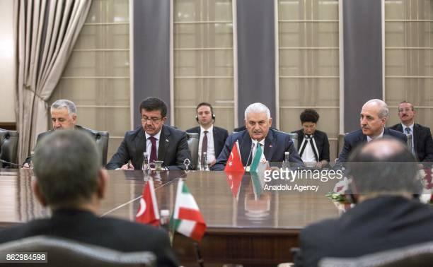 Turkish Prime Minister Binali Yildirim and Iran's First Vice President Eshaq Jahangiri attend interdelegations meeting at Cankaya Palace in Ankara...