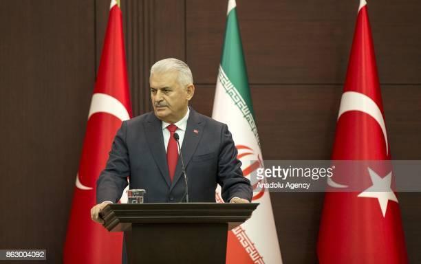 Turkish Prime Minister Binali Yildirim and Iran's First Vice President Eshaq Jahangiri hold a joint press conference at Cankaya Palace in Ankara...