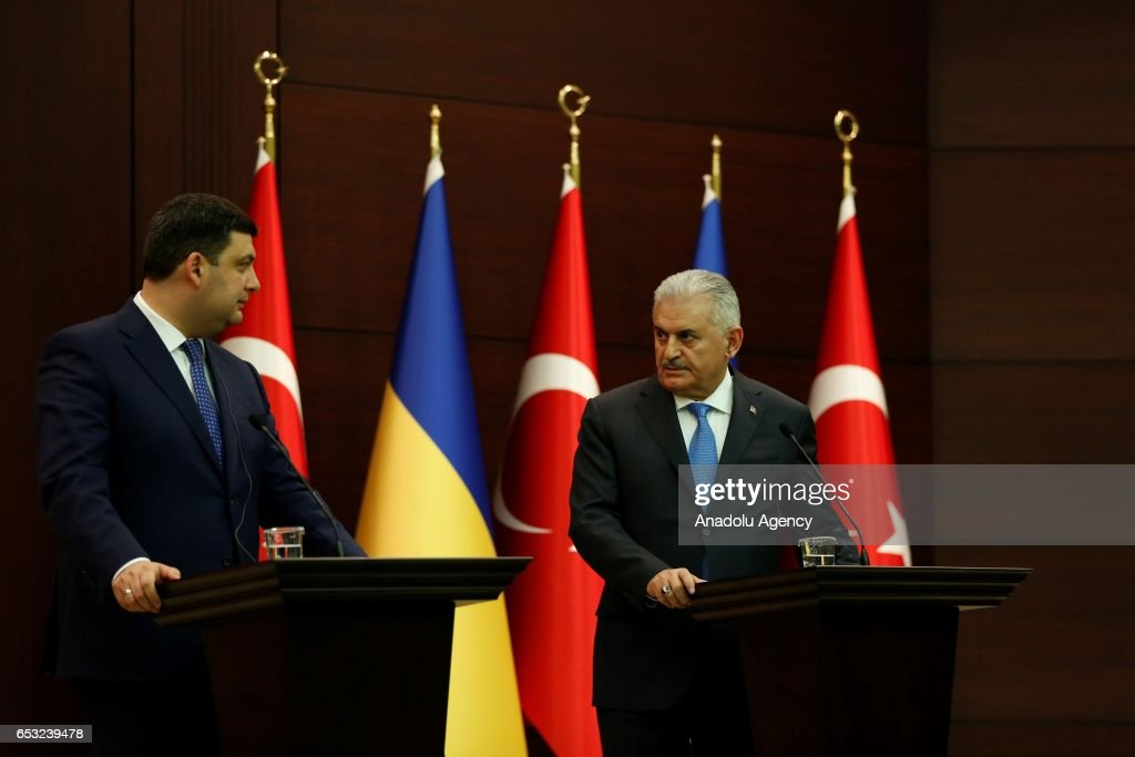 Turkish Prime Minister Binali Yildirim (R) and Prime Minister of Ukraine Volodymyr Groysman (L) hold a joint press conference at Cankaya Mansion in Ankara, Turkey on March 14, 2017.