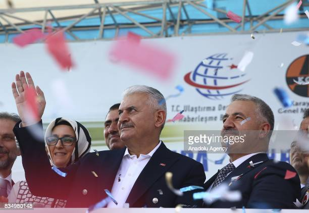 Turkish Prime Minister Binali Yildirim and Turkish Minister of Transport Maritime and Communication Ahmet Arslan attend the groundbreaking ceremony...