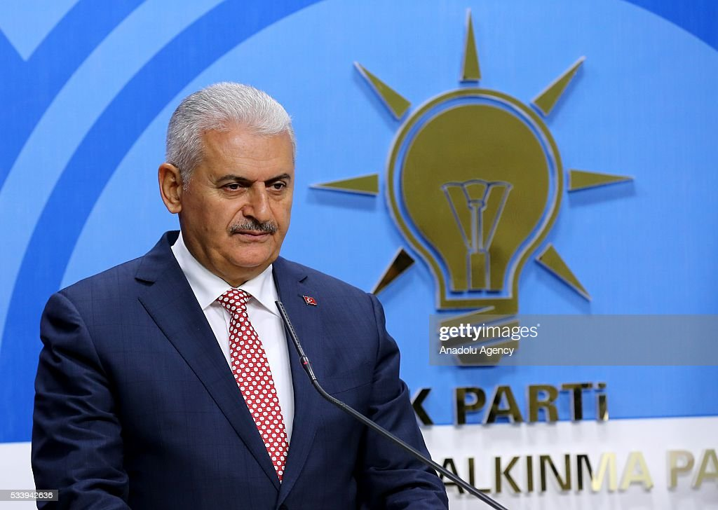 Turkish Prime Minister Binali Yildirim announces the members of AK Party Central Executive Board (MYK) during a press conference in Ankara, Turkey on May 24, 2016.