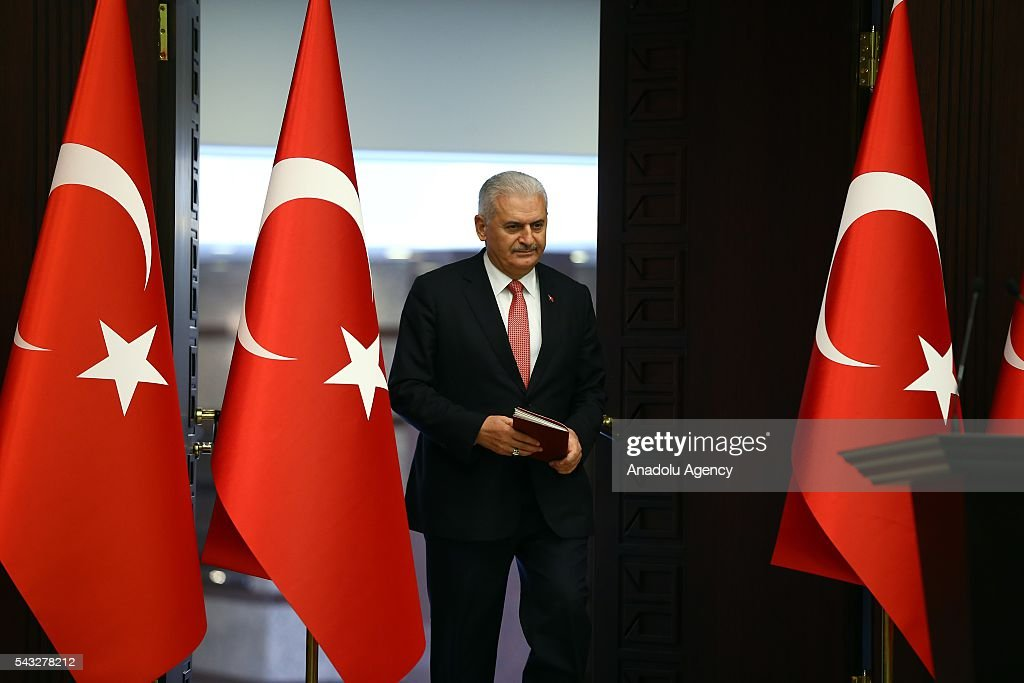 Turkish Prime Minister Binali Yildirim arrives to attend a press conference after Turkish-Israeli reconciliation deal, at Cankaya Palace in Ankara, Turkey on June 27, 2016.