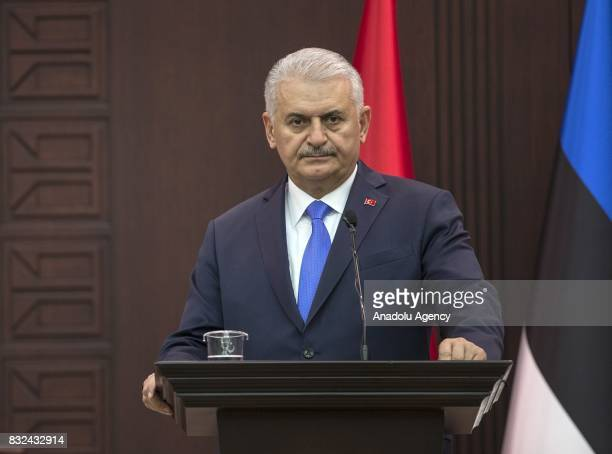 Turkish Prime Minister Binali Yildirim attends a joint press conference with Estonian Prime Minister Juri Ratas after their meeting at Cankaya Palace...