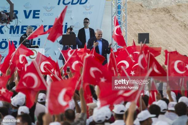 Turkish Prime Minister Binali Yildirim attends the groundbreaking ceremony of Konya High Speed Train Station and Konya Logistics Center on August 19...