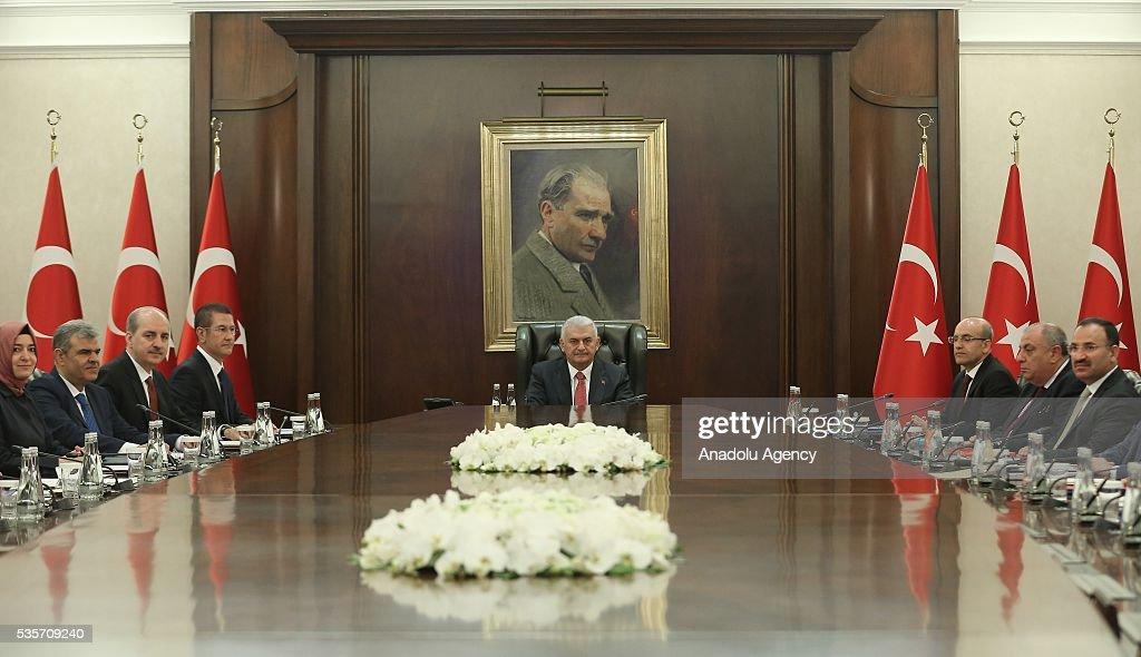 Turkish Prime Minister Binali Yildirim (C) chairs the Cabinet Meeting of Turkey in Ankara, Turkey on May 30, 2016.