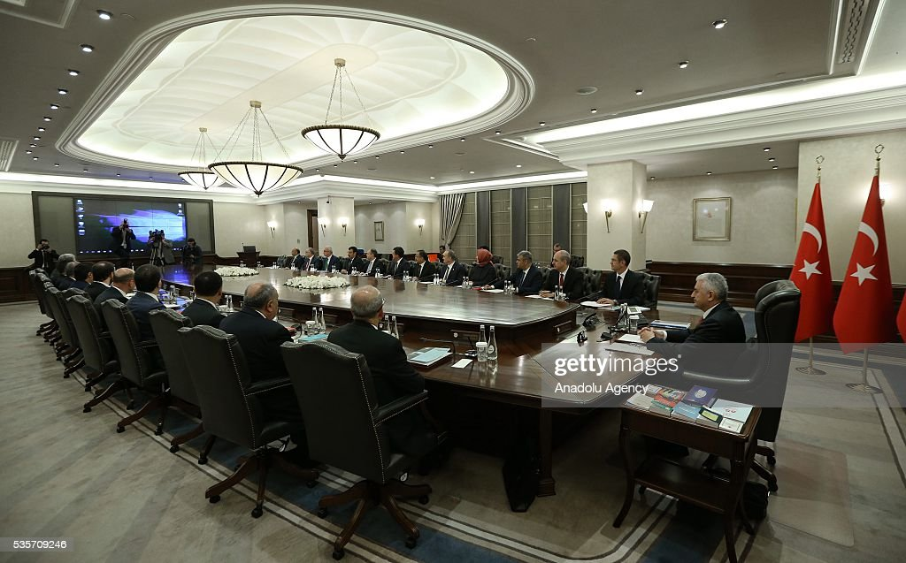 Turkish Prime Minister Binali Yildirim (R) chairs the Cabinet Meeting of Turkey in Ankara, Turkey on May 30, 2016.