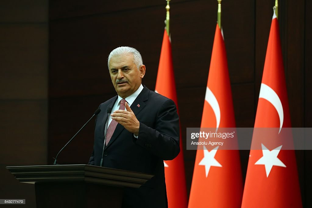 Turkish Prime Minister Binali Yildirim delivers a speech during a press conference after Turkish-Israeli reconciliation deal, at Cankaya Palace in Ankara, Turkey on June 27, 2016.
