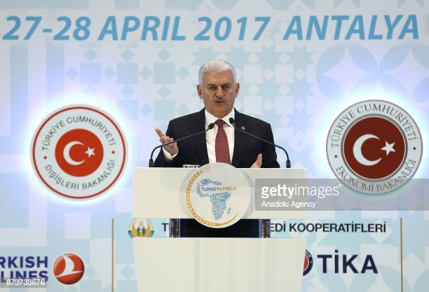 Turkish Prime Minister Binali Yildirim delivers a speech during the TurkeyAfrica First Agriculture Ministers Meeting and Agribusiness Forum at...