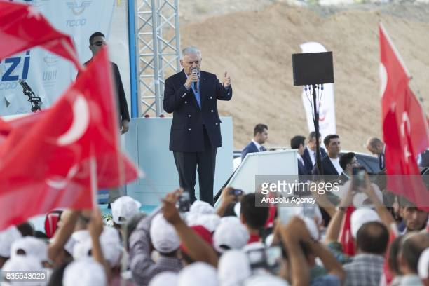 Turkish Prime Minister Binali Yildirim delivers a speech during the groundbreaking ceremony of Konya High Speed Train Station and Konya Logistics...