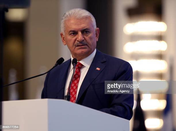 Turkish Prime Minister Binali Yildirim delivers a speech during the 10th European Regional meeting of International Labour Organization at Hilton...